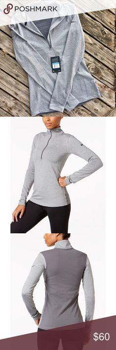 Nike Pro Warm Half Zip Training Top Brand new. Nike women's pro warm Dri-fit half-zip training top in dark grey heather. Front/Sleeves 80% polyester 20% spandex. Back 83% polyester 17% spandex. Nike Tops