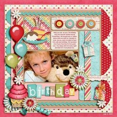 birthday layouts scrapbooking | girls scrapbooking layouts / CUTE Birthday Scrapbook Page