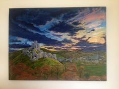The ruins of Corfe Castle as viewed from a neighbouring hill at sunrise. You can see the ruins, the village of Corfe and the rolling hills in the background. Corfe Castle, English Castles, Tower House, Contemporary Artwork, Art Uk, Historic Homes, Medieval, Sunrise, Deviantart