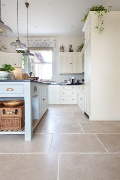 Kitchen flooring ideas with our Allier Rustique French Limestone tiles - rustic kitchen Stone Kitchen Floor, Kitchen Flooring, Limestone Flooring, Quorn, Georgian Homes, Rustic Kitchen, Building A House, Tile Floor, Kitchen Design