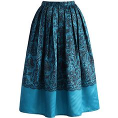 Chicwish Lace Fantasy Pleated Midi Skirt in Blue