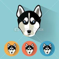 フラットなデザイン - 犬、ベクトル図を持つ動物の肖像画 — ストックイラストレーション #54597461
