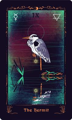 The Hermit card- grey heron Major Arcana Cards, Tarot Major Arcana, Mystic Arts, Grey Heron, Oracle Tarot, Tarot Spreads, Tarot Decks, Card Designs, Tarot Cards