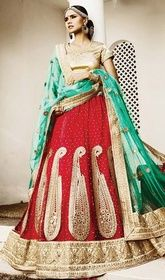 Choli Skirt, Net Fabric in Red Color Embroidered #weddinglehengacholi #cholidressimages Add grace and charm to your appearance in this choli skirt, net fabric in red color embroidered. The ethnic butta, lace and resham work within the lehenga adds a sign of splendor statement with your look. Upon request we can make round front/back neck and short 6 inches sleeves regular cholie blouse also.  USD $ 212 (Around £ 146 & Euro 161)