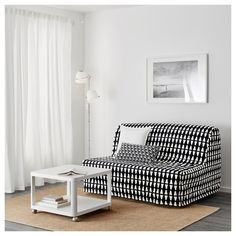 LYCKSELE LÖVÅS Two-seat sofa-bed, Ebbarp black/white. This sofa quickly and easily turns into a bed for two. Easy to keep fresh since the mattress and sofa covers can be removed and washed. Futon Mattress, Mattress Covers, Sofa Covers, Futon Bed, Sofa Beds, Canapé Convertible Ikea, Convertible 2 Places, Sofa Bed Frame, Decoration Home