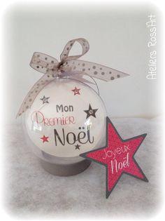 Boule 7cm ''mon premier Noël'' avec photo et texte personnalisable