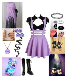 """""""Pastel Goth #3"""" by billdipbipper2423 on Polyvore featuring Chantal Thomass, Samsung, Nana', Lime Crime, Venom and Eternally Haute"""