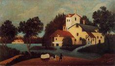 Wagon en face du Moulin - (Henri Rousseau)
