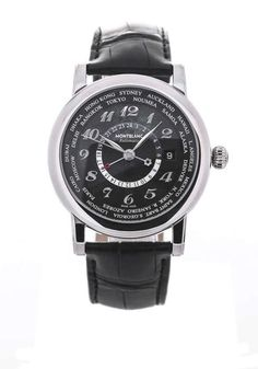 Montblanc - Star World-Time GMT - 106464 - Unisex - 2011-heden  Stainless steel case with a black leather strap. Fixed stainless steel bezel. Black dial with silver-tone hands and Arabic numeral hour markers. 24 hour markings. World time cities around the https://timetogetone.myshopify.com/