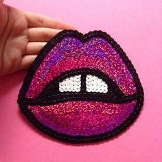 "Pink lipstick sequin iron-on patch for your next DIY project you want to ""make a statement"".     Details:   King Sophie's World //  http://www.kingsophiesworld.co.uk Custom sequin patches."