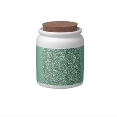 Mint Green with faux glitter Candy Jars