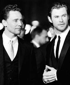 Tom Hiddleston & Chris Hemsworth (love these two; can't wait for Thor: The Dark World)