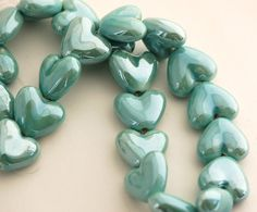5 GOSSAMER BLUE Ceramic Porcelain Heart Shaped Beads by SmartParts, $2.99