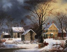 """""""Winter In The Country - A Cold Morning"""" George Henry Durrie (June 6, 1820-Oct. 15, 1863)"""
