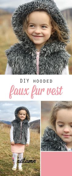 how to make a faux fur vest {with a hood!} - It's Always Autumn Diy Clothing, Sewing Clothes, Sewing For Kids, Baby Sewing, Sewing Patterns Free, Free Sewing, Sewing Hacks, Sewing Tutorials, Tutorial Sewing
