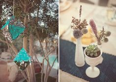 vases with dried flowers + planted succulents Palm Springs Wedding: Lisa + Alan