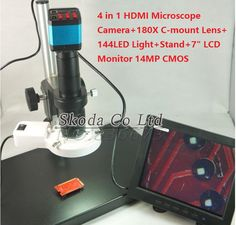 "HDMI Microscope Camera+180X C-mount Lens+144 LED Light+Stand+7"" LCD Monitor 14MP CMOS HDMI USB outputs for Industry Lab PCB"