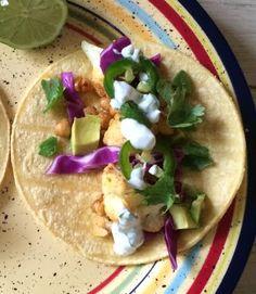 Roasted Cauliflower + Chickpea Tacos  via www.emergingadulteats.com