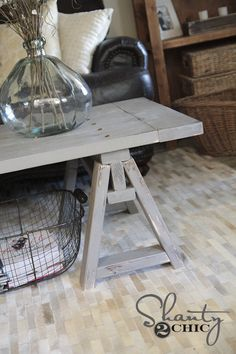 Archive Home And Monarch MN LARGE SONOMA COCKTAIL TABLE - Charming vintage diy sawhorse coffee table