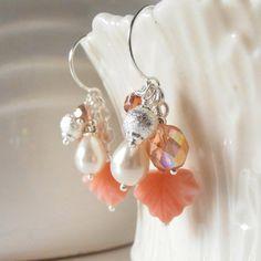 Coral Earrings Beaded Jewelry Bead Cluster by FiveLittleGems
