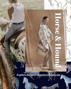 This autumn winter trend is a quirky play with all things equestrian and our love of man's best friend. Illustrative horse and dog motifs adorn spacial Fashion Show Themes, 2020 Fashion Trends, Winter Mode, Fall Winter, Pattern Bank, Conversational Prints, Horse Pattern, Denim Trends, Winter Trends