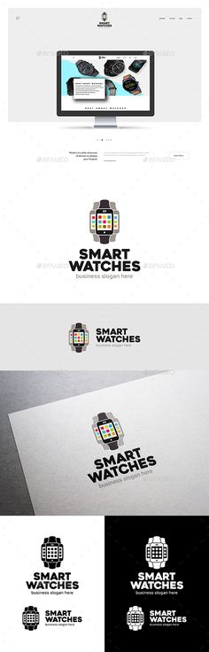 Smart Watches Logo - Objects Logo Templates Download here : https://graphicriver.net/item/smart-watches-logo/21188798?s_rank=138&ref=Al-fatih