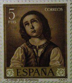 """España. Francisco de Zurbarán, pintor español del siglo de  Oro. En el sello aparece reflejada una de sus obras, """"La Virgen niña""""-"""