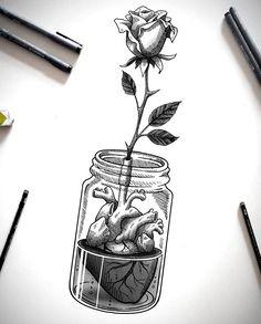 Cool Art Drawings, Pencil Art Drawings, Art Drawings Sketches, Tattoo Sketches, Tattoo Drawings, Drawing Drawing, Black And White Drawing, Black And White Illustration, Illustration Tattoo