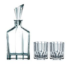 Nachtmann Aspen Decanter Set with Stopper and Whisky Tumblers - Set Includes: Decanter, Stopper and 2 Glasses - Capacity: Decanter: 25 oz / Glasses: 11 oz - Fine Crystal by Nachtmann - Fabulous for gi