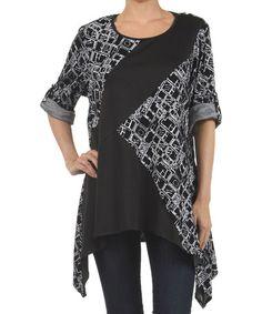 Look at this #zulilyfind! Black & Gray Abstract Grid Tunic #zulilyfinds