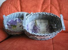 Sada dvou kusů košíčků - pletení z papíru