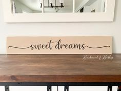 "Sweet Dreams Large Wood Sign Beige & Black - Size 42""x7"" Burlap Bedroom Decor, Nursery Decor, Custom Wood Signs, Wooden Signs, Rustic Decor, Farmhouse Decor, Nursery Neutral, Real Wood, Home Decor Inspiration"