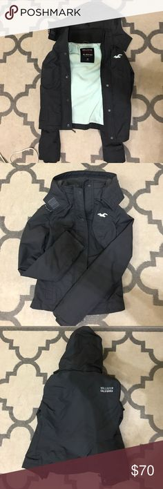 Hollister All-Weather Jacket Women's size xs Hollister all-weather jacket. In mint condition only worn once. The color is charcoal and mint. Hollister Jackets & Coats Utility Jackets