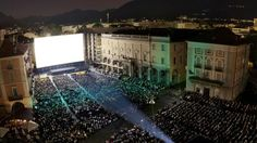 Piazza Grande screening during the Locarno Film Festival for 8,000 audience each night of the Festic=val.