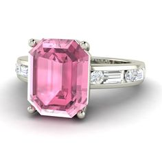 Emeraldcut Engagement ring in Pink Tourmaline and by Diamondere, $1,120.00