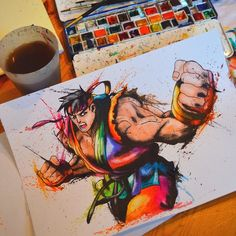 Fan Art Comic, Manga and Video Game Paintings. To see more art and information about Lisa-Marie Meline click the image. Cr7 Jr, Rainbow Games, Ryu Street Fighter, Art Memes, Funny Art, Anime Comics, Cool Drawings, Pixel Art, Game Art