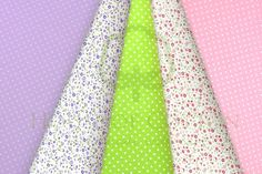 Floral & dots cotton fabric set in pastel colors: lavender, green, pink cotton fabric set / Zestaw pastelowy kwiatowy