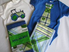 Business Farmer Baby Boy Gift Set in John Deere by morethansewsew, $39.50
