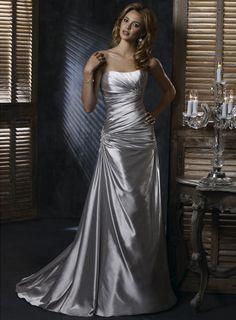 A-line Sleeveless SatiN Floor-length bridal gown