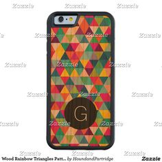 Wood Rainbow Triangles Pattern with Monogram Cherry iPhone 6 Bumper