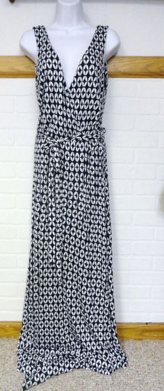 Fashion Star by H&M Maxi Plunging Dress W. Belt Sexy Navy Blue White 8 Medium M #FashionStarbyHM #Maxi #SummerBeach