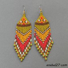 Длинные серьги из бисера этника seed bead earrings