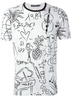 Dolce & Gabbana tropical music print T-shirt