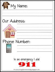 Printable for learning address and phone number. Print and send home for them to practice. These FREE Learn My Name & Address Printables is perfect for helping preschool and kindergarten age kids to learn their name and address. Kindergarten Readiness, Homeschool Kindergarten, Preschool Learning, Preschool Activities, Kids Learning, Homeschooling, Worksheets For Kindergarten, Pre K Curriculum, Preschool Lessons