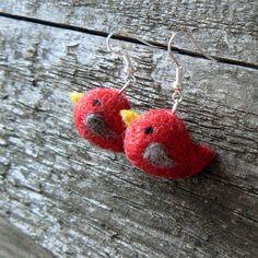 Felted birdie earrings!! So cute