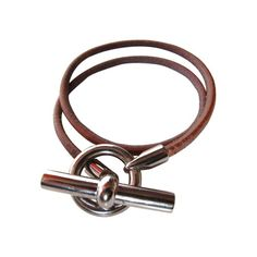 Hermes Brown Leather Bracelet with Sterling Silver Knot Closure