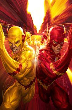 The Flash Vs. The Reverse Flash (Cover art by Stanley Lau) Marvel Dc Comics, Heros Comics, Dc Comics Art, Dc Heroes, Flash Comics, Zoom Dc Comics, Comic Book Characters, Comic Book Heroes, Comic Character