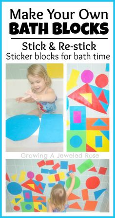 Make your own blocks for bath time.  These blocks are essentially sticker blocks that can be stuck, re-stuck & used time and time again- colorful, frugal, FUN! Ian got some of these foam heart shaped from a valentines sign with me class and loves them! Plays with them every bath, might have to make some more