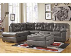 2 Pc. Leather Sectional 20102LAF-SEC Alliston-Gray, Furniture Factory Direct Leather Sectionals