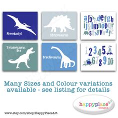 INSTANT DOWNLOAD Dinosaur Alphabet Printable Wall by HappyPlaceArt, $15.00